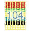 Этикетки маркеры Avery Zweckform 3090, разноцветные, d=8мм, 416шт на листе А4, 1 лист, 416шт