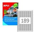 Этикетка самоклеящаяся APLI на листе ф А4, 189 этик., размер 25,4х10мм, белая, 25л.удаляемые(10198)