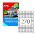 Этикетка самоклеящаяся APLI на листе ф А4, 270 этик., размер 17,8х10мм, белая, 25л.удаляемые(10197)