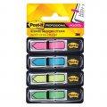 Клейкие закладки пластиковые Post-It Professional 4 цвета, 12х43мм, 4х24 листа, в диспенсере, 684-ARR4