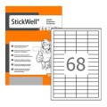 Этикетки StickWell,А4,прямоуг.48,5x16,9,68шт/л,100 11242