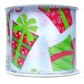 Упаковочная лента Новогодняя белая с орнаментом подарков, 270см