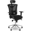 """Кресло руководителя """"Pilot R HR"""", кожа/ткань,  хром, черное LE-A с тканевыми вставками,  ш/к 38988"""