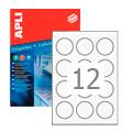 Этикетки круглые Apli 1244, d=60мм, 1200шт, белые