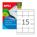 Этикетки APLI, А4, 70x50, 15шт/л, 100л, прямоугольные, белые 01295