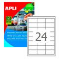 Этикетки APLI, А4, 64,6x33,8, 24шт/л, 100л, удаляемые, прямоугольные, белые 03056
