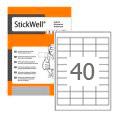 Этикетки StickWell, А4, 48,5x25,4, 40шт/л, 100л, прямоугольные, белые 12625