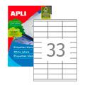 Этикетки APLI, А4, 70x25,4, 33шт/л, 100л, прямоугольные, белые 03132