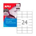Этикетки APLI, А4, 70x37, 24шт/л, 500л, прямоугольные, белые 01783