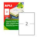 Этикетки APLI, А4, 210х148, 2шт/л, ECO, прямоугольные, белые 12069