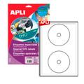 Этикетки APLI, А4, DVD d=117, d=18, 2шт/л, 10л, п/э, белые 11204