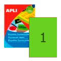 Этикетки APLI, А4, 210х297, 1шт/л, 20л, прямоуг., флюор. зеленые 02881
