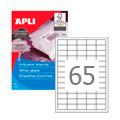 Этикетки APLI, А4, 38x21,2, 65шт/л, 500л, прямоугольные, белые 01776