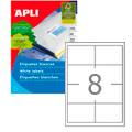 Этикетки APLI, А4, 97x67,7, 8шт/л, 100л, прямоугольные, белые 01291