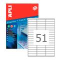 Этикетки APLI, А4, 70x16,9, 51шт/л, 100л, прямоугольные, белые 01294
