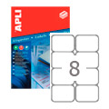 Этикетки APLI, А4, 99,1x67,7, 8шт/л, 100л, закругленные, белые 02420