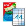 Этикетки APLI, А4, 48,5x25,4, 44шт/л, 10л, п/э, прямоугольные, прозрачные 10050