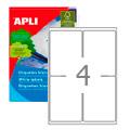 Этикетки APLI, А4, 99,1x139, 4шт/л, 100л, закругленные, белые 02422
