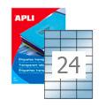 Этикетки прозрачные Apli 10051, 70х37мм, 240шт, глянцевые
