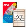 Этикетки APLI, А4, 63,5x29,6, 27шт/л, 10л, п/э, закругленные, золото 11275