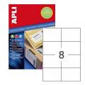 Этикетки APLI, А4, 105x74, 8шт/л, 100л, прямоугольные, белые 11784