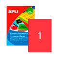 Этикетки APLI, А4, 210х297, 1шт/л, 100л, прямоугольные, флюор. красные 11749