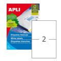Этикетки APLI, А4, 175x135, 2шт/л, 100л, прямоуг., белые 11659