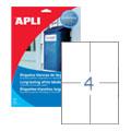 Этикетки APLI, А4, 105х148, 4шт/л, 20л, п/э, прямоугольные, всепогодные, белые 01227