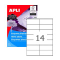 Этикетки APLI, А4, 105x42,4, 14 шт/л, 500л, прямоуг., белые 01795
