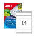 Этикетки APLI, А4, 105х40, 14шт/л, 100л, прямоуг., белые 03138