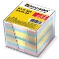 Блок для записей непроклеенный в подставке Brauberg цветной в прозрачном боксе, 90х90мм