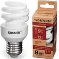 Лампа люминесц. энергосбер. SONNEN ECO Т2, 9(35)Вт, цоколь E27, 8000ч, тепл. свет, 451065