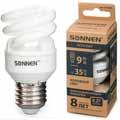 Лампа люминесц. энергосбер. SONNEN ECO Т2, 9(35)Вт, цоколь E27, 8000ч, хол. свет, 451066