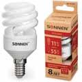 Лампа люминесц. энергосбер. SONNEN ECO Т2, 11(55)Вт, цоколь E14, 8000ч, тепл. свет, 451067