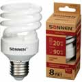 Лампа люминесц. энергосбер. SONNEN ECO Т2, 20(90)Вт, цоколь E27, 8000ч, тепл. свет, 451075