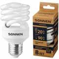 Лампа люминесц. энергосбер. SONNEN ECO Т2, 20(90)Вт, цоколь E27, 8000ч, хол. свет, 451076