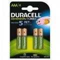 Элементы питания аккумулятор DURACELL AAA/HR03 NiMH 850mAh  4ШТ/УП