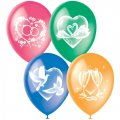 """Воздушные шары, 25шт, М12/30см, """"Свадебная тематика"""", ассорти, пастель, растровый рисунок"""
