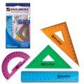 Набор чертежный Brauberg Сrystal 4 предмета, линейка 15см, 2 треуг., транспортир, цветной