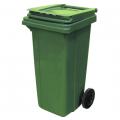 Бак для мусора на колесах, зеленый, с крышкой
