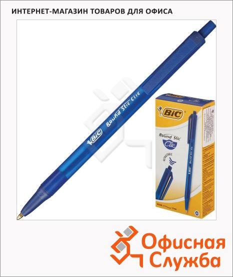 фото: Ручка шариковая автоматическая Bic Round Stic Clic синяя 0.4мм, 0.4мм, синий корпус