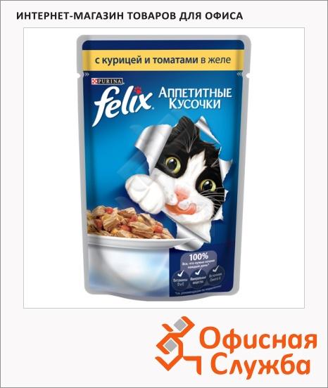 фото: Влажный корм для кошек Felix Аппетитные кусочки с курицей и томатами в желе 85г