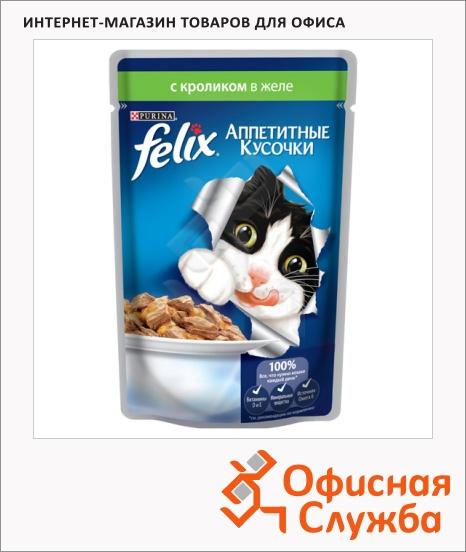 фото: Влажный корм для кошек Felix Аппетитные кусочки с кроликом в желе 85г