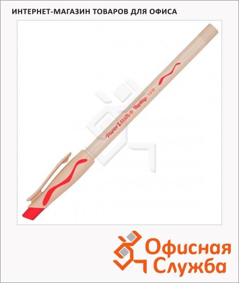 фото: Ручка шариковая стираемая Paper Mate Replay красная 1мм, с ластиком, бежевый корпус
