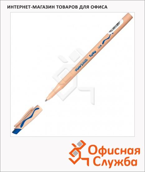 фото: Ручка шариковая стираемая Paper Mate Replay синяя 1мм, с ластиком, бежевый корпус