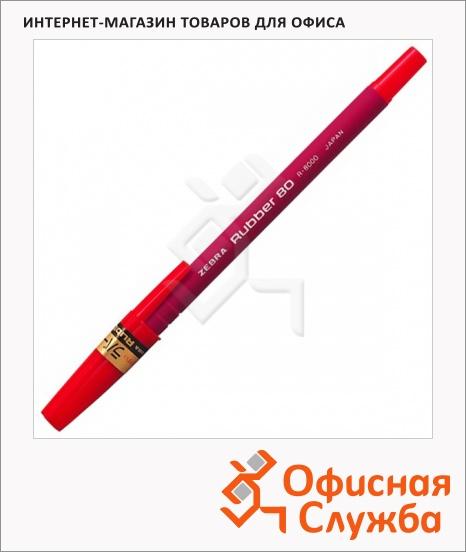 фото: Ручка шариковая Zebra Rubber 80 красная 0.7мм