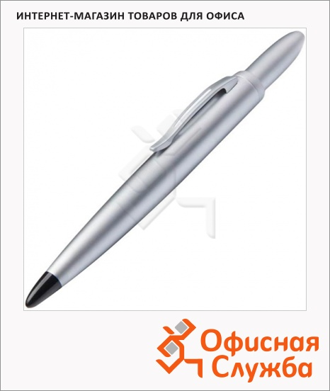 фото: Ручка шариковая Lerche Scrinova Premium Compact stylus черная серебристый матовый корпус