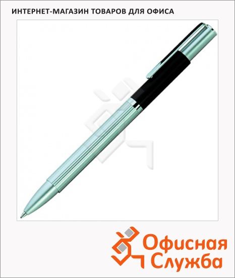 фото: Ручка шариковая Lerche ScriNova Avanti черная корпус матовый серебром с черным