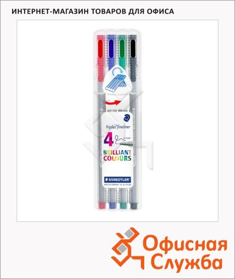 фото: Набор ручек капиллярных Staedtler Triplus Fineliner 334 4 цвета 0.3мм, серебристый корпус, 0.3мм