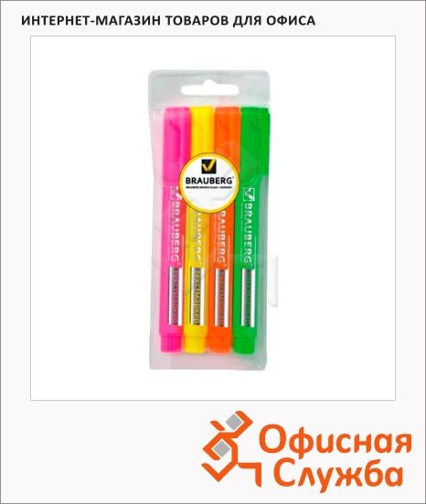 фото: Текстовыделитель Brauberg Energy набор 4 цвета 1-3мм, скошенный наконечник, 150486